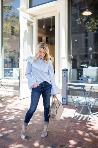 top ruffled top tumblr ruffle blue top bell sleeves denim jeans blue jeans skinny jeans sandals sandal heels bag nude bag shoes