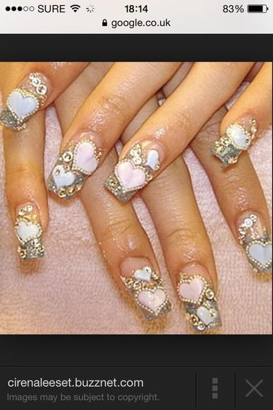 nail accessories nail polish hearts pink diamonds