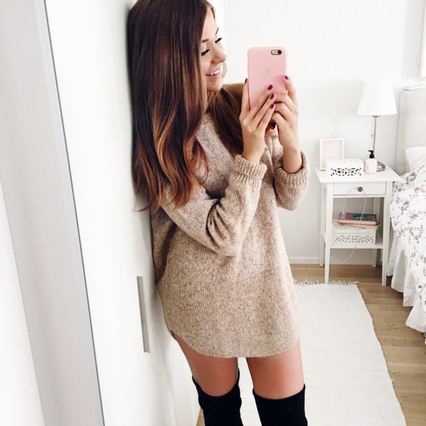 blogger dress sweater shoes sweater dress beige sweater thigh high boots black boots