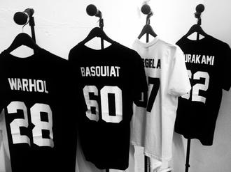 shirt black white b&w tumblr shirt tumblr t-shirt jersey tee shirt top number jersey clothes andy warhol basquiat