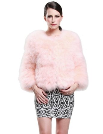 Amazon.com: Camii Mia Women's Ostrich Hair Fur Coat (One Size, Pink): Clothing