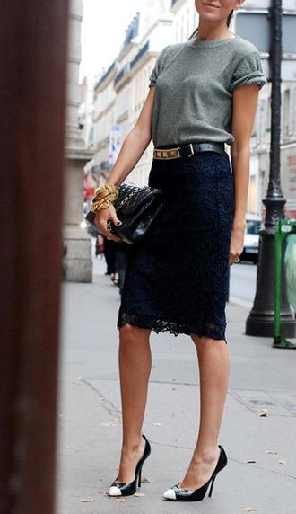 skirt black skirt shoes belt bag