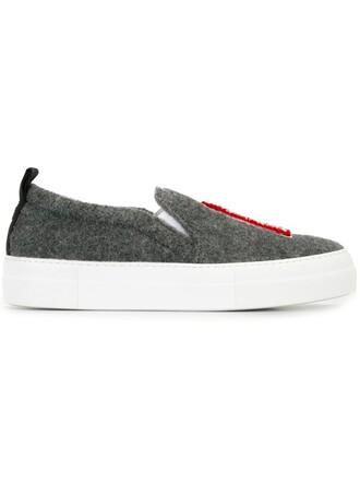 women london sneakers leather wool grey shoes
