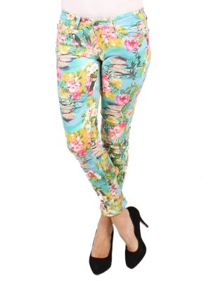 Tropical printed jeans