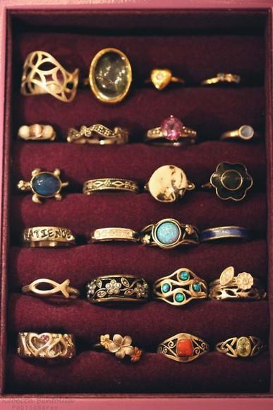 jewels ring adorable vintage moon turtle floral celtic
