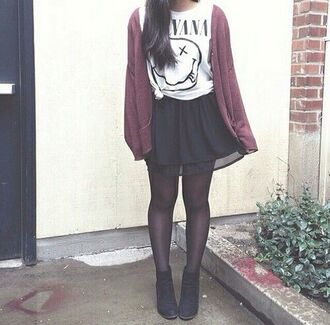 cardigan tumblr shirt skirt tank top nirvana girl black boots