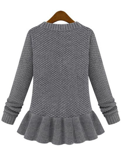 Grey Long Sleeve Cable Knit Ruffle Sweater - Sheinside.com