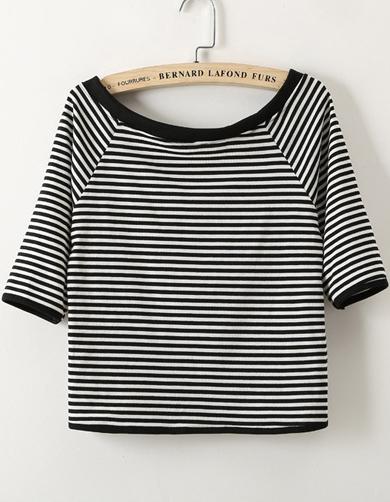 Camiseta rayas cuello barco manga media-negro