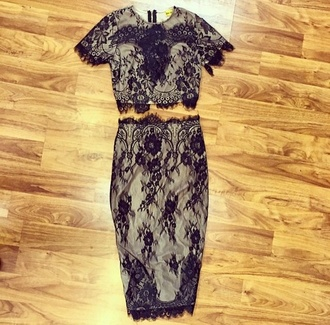 dress two-piece skirt top lace two piece fitted dressy black lace classy