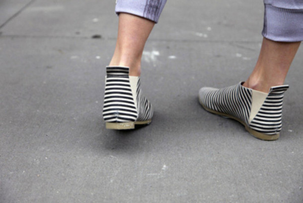 Shoes: boots, stripes, ankle boots, slip on shoes, black and white ...