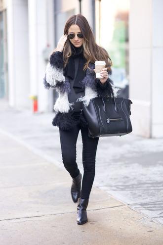 something navy blogger fuzzy coat faux fur coat celine bag
