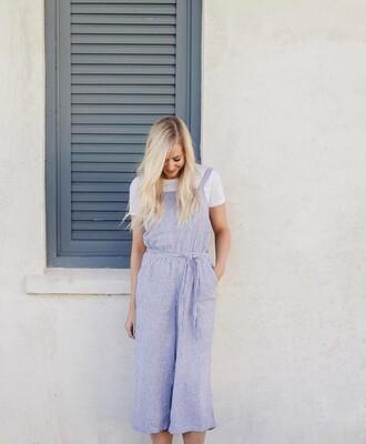 jumpsuit tumblr cropped jumpsuit stripes striped jumpsuit blue jumpsuit t-shirt white t-shirt