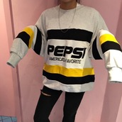 sweater,pepsi,oversized sweater,sweatshirt,crewneck,grunge,jacket
