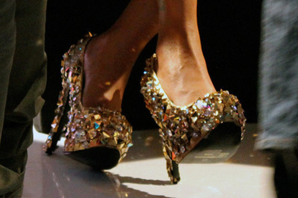 Sparkly Gold Heels - Clhse Shoes Rhinestone High Heels High Heels Glitter Gold Big Rhinestones Rhinestone Gold High Heels Sparkly Sparkle