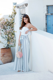 the mysterious girl,blogger,bag,jewels,shoes,white top,wide-leg pants,mini bag,high waisted,pink bag