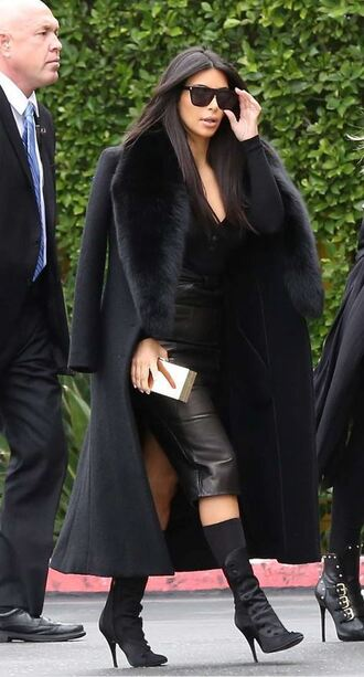 shoes boots kim kardashian black coat