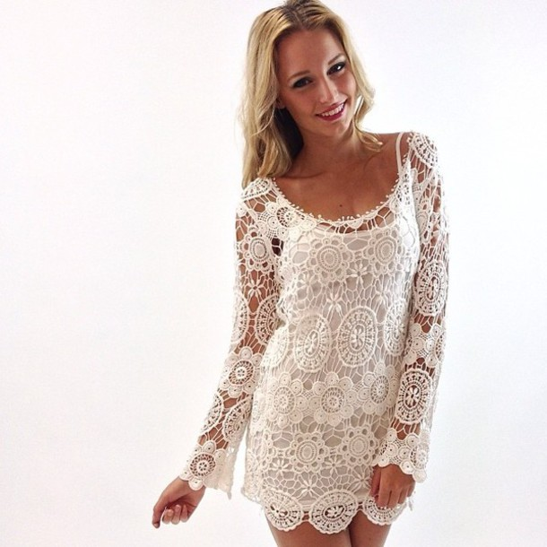 Dress Lace Dress Lace Wedding Bridesmaid Beach Crochet Ivory