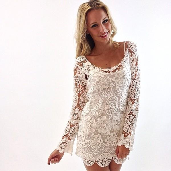 dress lace dress lace wedding bridesmaid beach crochet ivory ivory dress