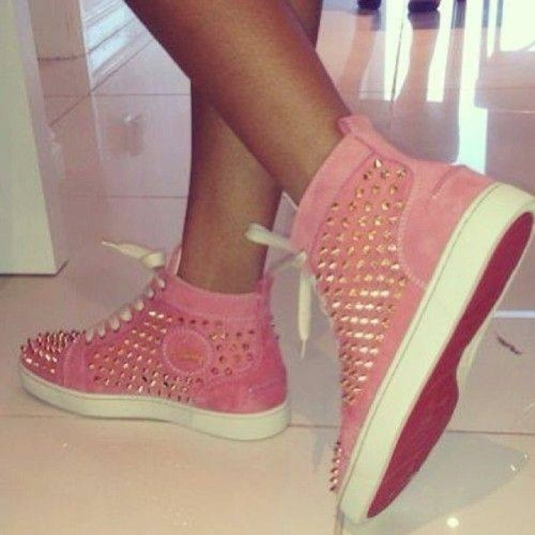 shoes louboutin pink red bottoms spikes high top sneakers