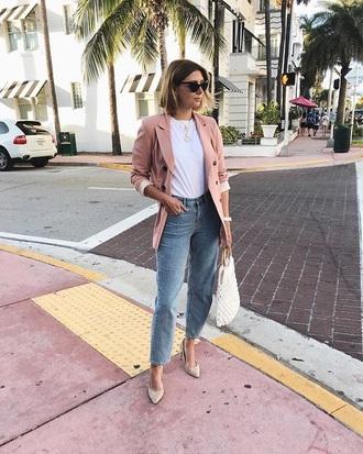 jacket blazer pink blazer top white top pumps t-shirt white t-shirt jeans denim spring outfits
