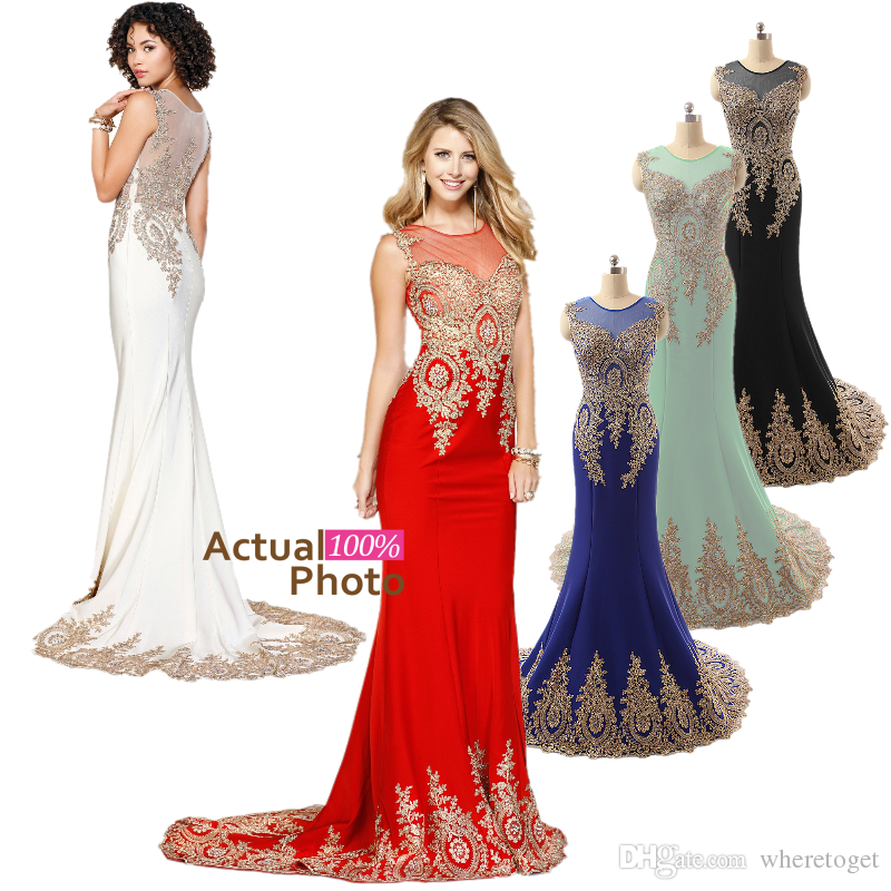 New Arrival Mermaid Sheer Neck Long Prom Dresses Court Train