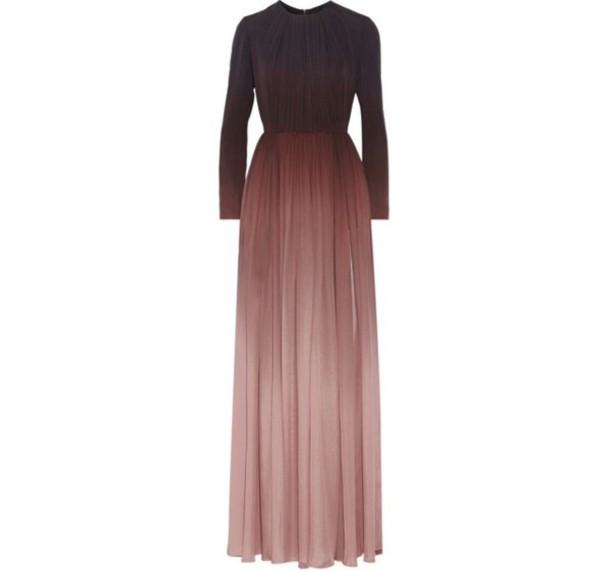 Long sleeve ombre maxi dress