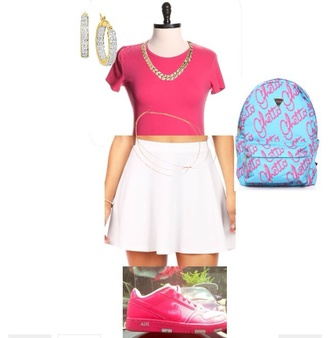 dress cute dope chain white gold cute dress cute top earrings sexy dress style skater skirt crop tops top t-shirt shirt nike shoes ghetto backpack trill pink dress white skirt white dress headband jewels skirt shoes bag