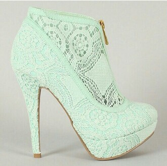 shoes mint green shoes zip-up high heels booties shoes