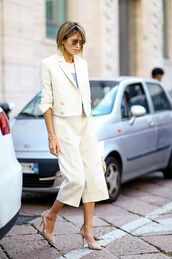 pants,power suit,two piece pantsuits,matching set,palazzo pants,culottes,cropped,stripes,striped pants,blazer,striped blazer,pumps,pointed toe pumps,high heel pumps,sunglasses,streetstyle,work outfits