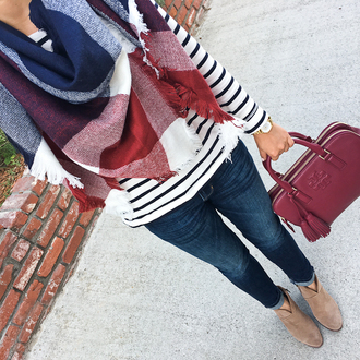 stylish petite blogger scarf shirt jeans shoes bag jewels tartan scarf handbag ankle boots tory burch