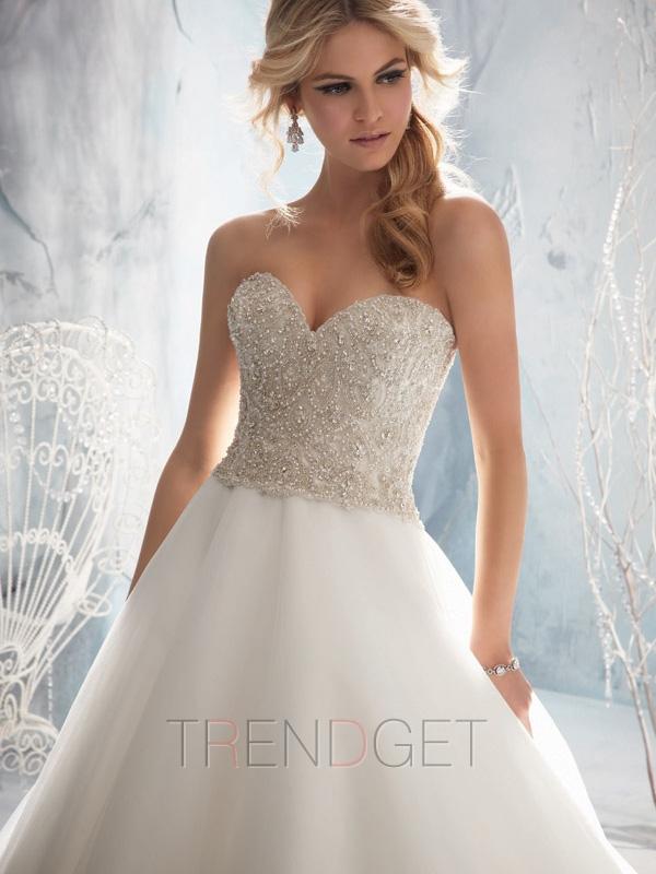 Elegant Ball Gown Cathedral Train Organza Wedding Dresses $216.99 - Trendget.com