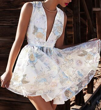 dress flowy white summer sexy plunging neck sleeveless flower pattern see-through women's dress sexy trendy clothes rosegal-dec girly girl girly wishlist floral floral dress