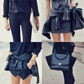 bag handbag black blackbag lether bag