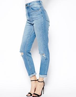 Asos farleigh high waist slim mom jeans in mid wash blue with busted knees at asos