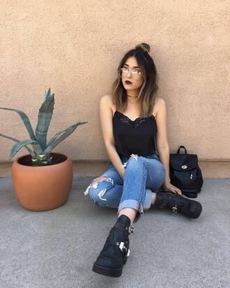 top tumblr black top lace top denim jeans blue jeans ripped jeans boots black boots backpack black backpack clear lens sunglasses jewels jewelry choker necklace necklace accessories