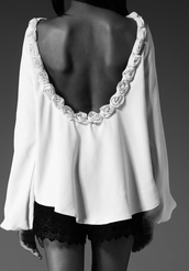 blouse,shirt,roses,white,cute,t-shirt,open back,top,open back top,pretty,backless,clothes,shorts,black blouse,elegant