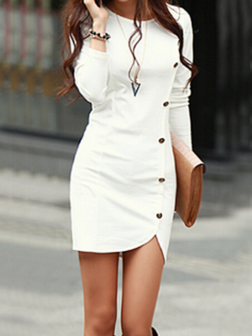 Nextshe 2015 spring women fashion solid round neck buttons embellished long sleeve fitted dresses