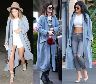 coat blue kylie jenner long coat