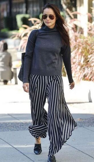 pants mules jamie chung stripes striped pants sweater fall outfits shoes