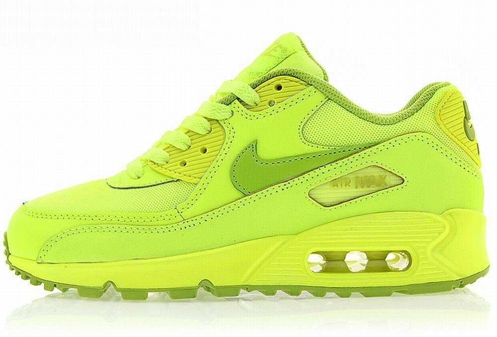 NIKE WOMENS GIRLS AIR MAX 90 GS Neon Green running sneakers youth new