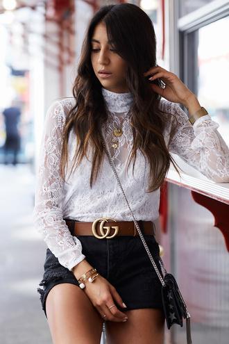 blouse black shorts tumblr white blouse white lace top lace top shorts