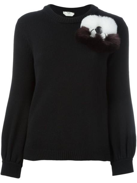jumper fur fox women black sweater