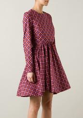 dress,victoria beckham printed cotton dress,victoria,mini dress,purple,victoria beckham