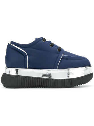 women sneakers leather blue shoes