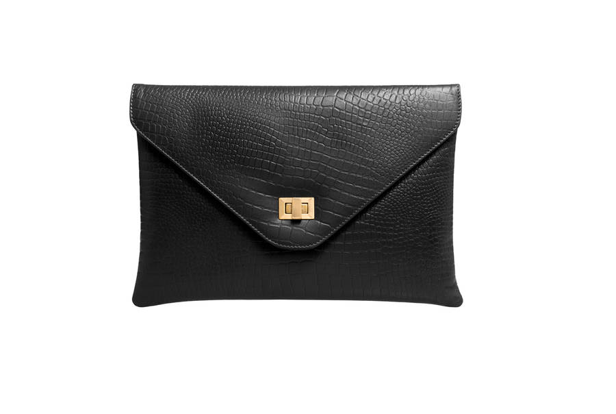 lily clutch in black croc by peony & moore | notonthehighstreet.com