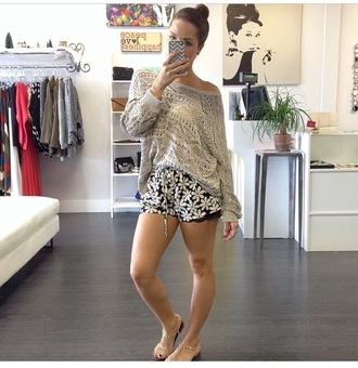sweater knitted sweater floral shorts shorts