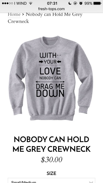 sweater dragmedown grey sweater quote on it one direction