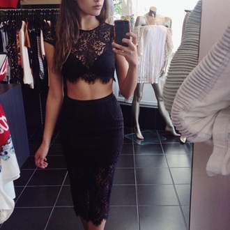 dress clothes coords coordinates black lace dress lace skirt top crop tops midi skirt midi skirt set bralette