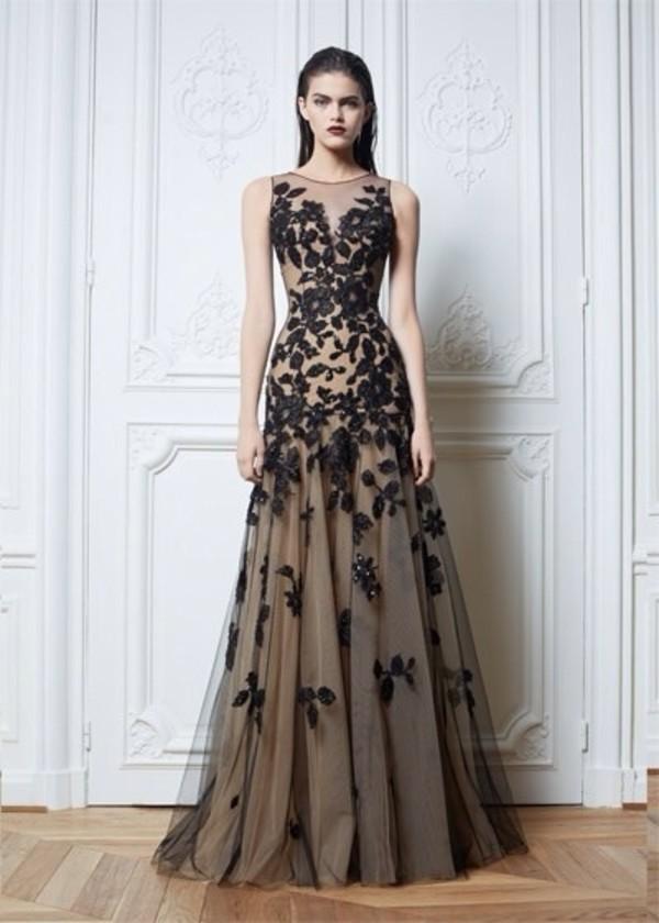 dress black nude flowers lace long dress