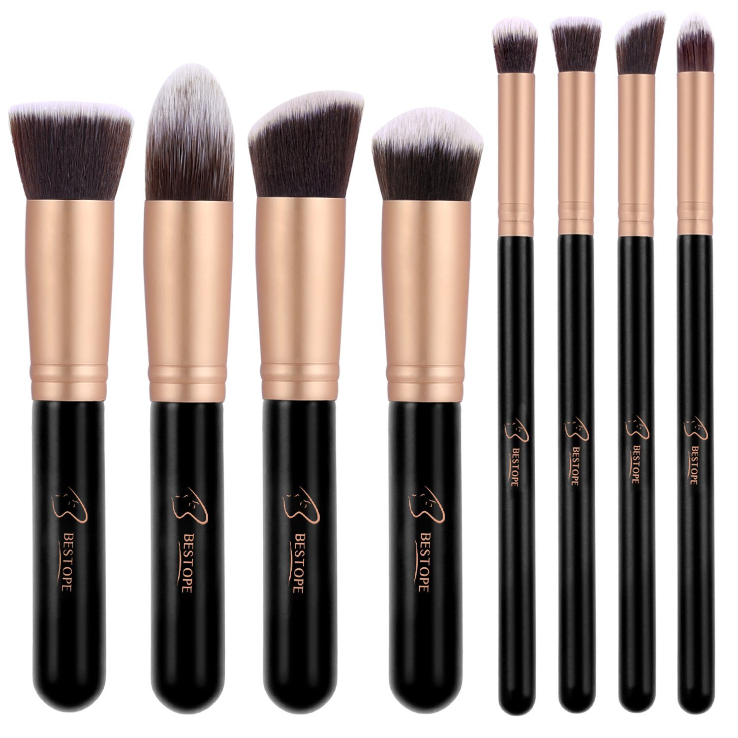 Amazon.com: Makeup Brushes BESTOPE Premium Cosmetic Makeup Brush Set Synthetic Kabuki Makeup Foundation Eyeliner Blush Contour Brushes for Powder Cream Concealer Brush Kit(8PCs, Rose Gold): Beauty